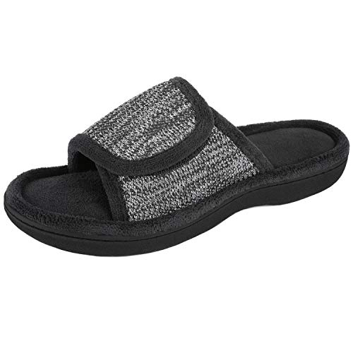 RockDove Women's Adjustable Wrap Memory Foam Slide Slipper, Size 9-10 US Women, Black