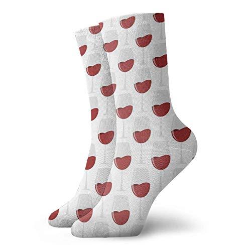 QUEMIN Regalo de Navidad Calcetines de copa de vino tinto con remolinos Calcetines cortos deportivos clásicos 30 cm / 11,8 pulgadas Adecuado para hombres Mujeres