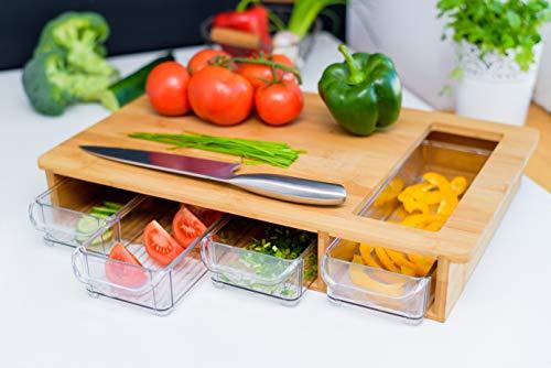 Grande tagliere in bambù con vassoi / cassetti – blocco da macellaio in legno con 4 cassetti e apertura speciale per verdure, carne, frutta, pane, formaggio - Naturalmente antimicrobico.