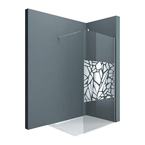 Sogood Luxus Duschwand Bremen02BL 120x200 cm Walk-In Dusche mit Stabilisator aus Edelstahl Duschabtrennung aus Echtglas 10mm ESG-Sicherheitsglas inkl. Easy-Clean-Beschichtung