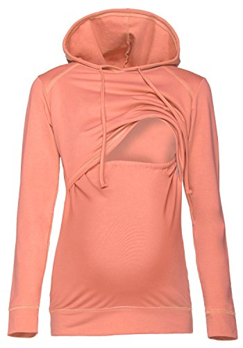 Happy Mama. Damen Kapuzenpullover Stillzeit Top Zweilagiges Sweatshirt. 272p (Lachs, 36, S)