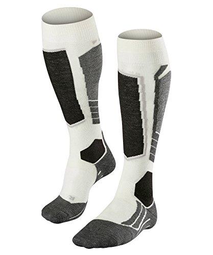 FALKE Damen Skisocken SK2 Wool, atmungsaktive Skistrümpfe mit Merinowolle, Kniestrümpfe zum Skifahren, beste Wärmeisolation, mittelstarke Polsterung, 1er Pack, Weiß (Off-White 2040), Größe: 37-38