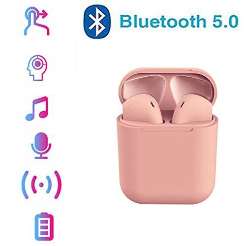 LZ Auriculares Bluetooth 5.0 Auriculares Inalámbricos Sonido Estéreo In-Ear Sport Auricular con Mic para iPhone Android y PC,Rosado