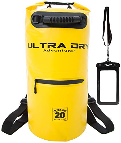 Ultra Dry Waterproof Bag, Sack with phone dry bag, Front Zip Pocket & long adjustable Shoulder Strap Included, Perfect for Kayaking Boating Canoeing Camping Rafting Swimming Fishing (10 l yellow)