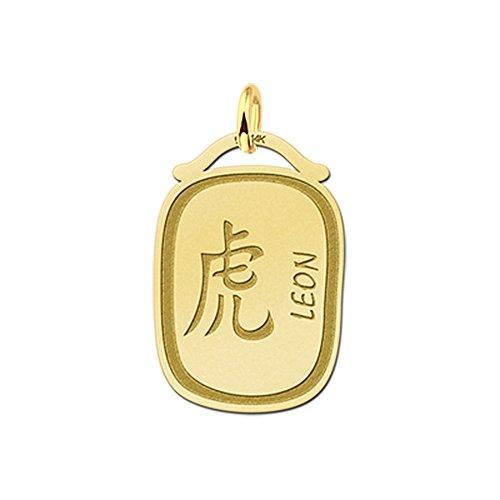 Namesforever hanger Chinese sterrenbeeld tijger van goud met naamgravure