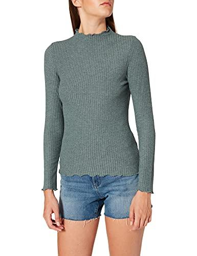 ONLY Damen ONLEMMA L/S HIGH Neck TOP NOOS JRS T-Shirt, Balsam GreenDetail:Melange, L