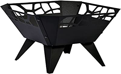 dobar Square Fire Pit, Fire Bowl for Outdoor Use - For Garden, Balcony, Terrace - Black Powder-Coated Steel, 51.5 x 51.5 x 30 cm, 35416 by dobar