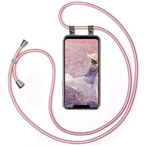 moex Handykette kompatibel mit Xiaomi Pocophone F1 Hülle mit Band Längenverstellbar, Handyhülle zum Umhängen, Silikon Hülle Transparent mit Kordel Schnur abnehmbar in Rosegold