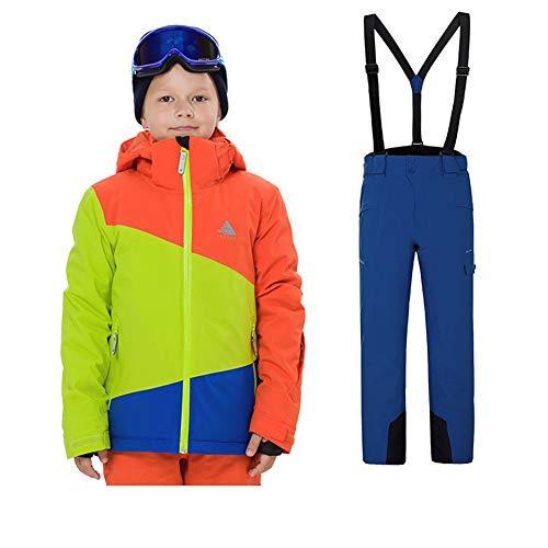 LSERVER Kinder warm und strapazierfähig Skianzug zweiteilig Skijacke + Skihose, Bildfarbe D(Junge), 134/140(Fabrikgröße: 140 cm)
