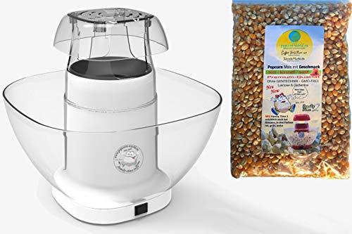 Family Time - Macchina per popcorn con airpop senza grassi + contenitore + misurino + sacchetto di mais per popcorn da 16 litri bianco