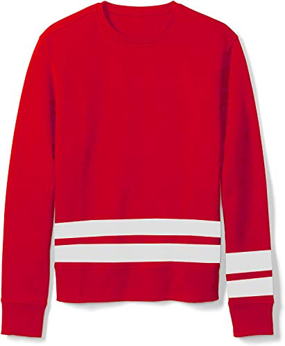 Ouber Men's Long Stripe Crewneck Pullover Trendy Sweatshirt (S,Red)