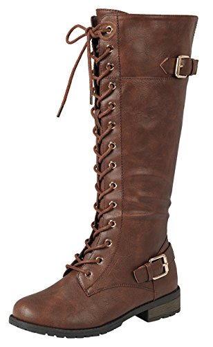 Forever Link Mango-27 Women's Strappy Lace-Up Knee High Combat Stacked Heel Boot,Brown,6.5