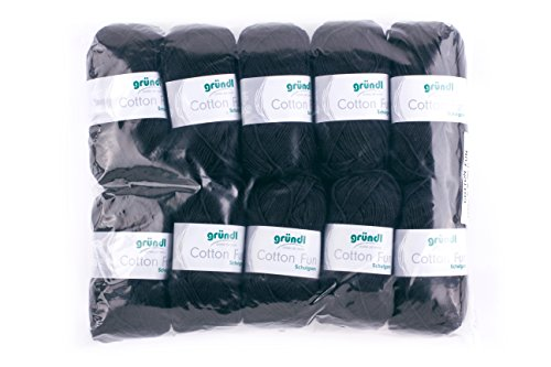 Gründl Cotton Fun Wolle, Baumwolle, schwarz, 27 x 11 x 7 cm