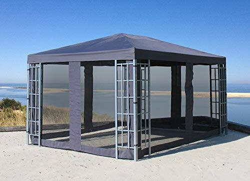 QUICK STAR Rank Pavillon Set 3x4m Metall Garten Partyzelt Anthrazit mit 4 Seitenteilen mit Moskitonetz