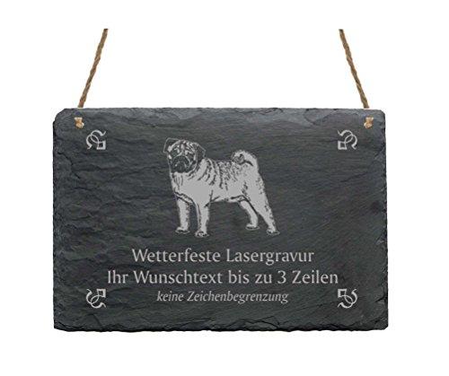 Schiefertafel « MOPS » IHR TEXT + MOTIV - 22 x 16 cm - Schild mit Hund Pug Möpse