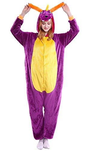 YAOMEI Erwachsene Unisex Overalls, Kostüm Tier Kostüm Anzug Strampler Nachthemd Pyjama Hoodie Nachtwäsche Cosplay Karton 3D Kigurumi Karneval Weihnachten Halloween (S, Drachen)