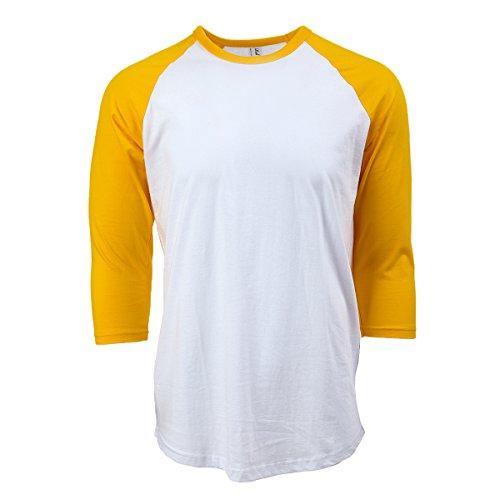 Rich Cotton Raglan T-Shirts (S, White/Yellow)
