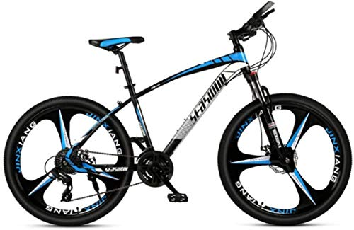 HCMNME Durable Bicycle, 26 inch Mountain Bike Male and Female Adult Ultralight Racing Light Bicycle tri-Cutter Alloy Frame with Disc Brakes (Color : Black Blue, Size : 24 Speed)