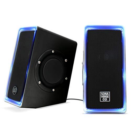 GOgroove Altavoces LED para Portatil PC (Negro) Altavoces USB O2i SonaVERSE para...