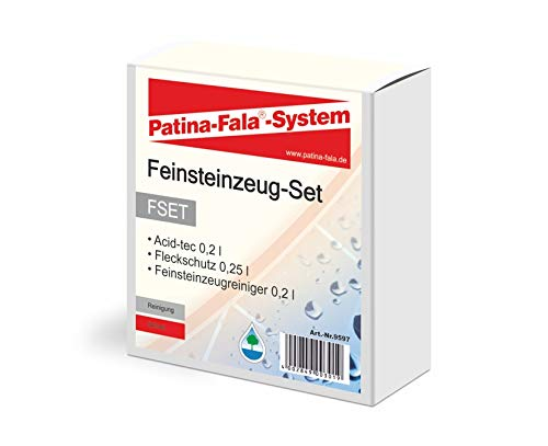 Patina-Fala FSET Feinsteinzeug-Set Fleckenschutz 250 ml, Feinsteinzeugreiniger 200 ml & Acid-tec 200 ml auch zum reinigen starker Verschmutzungen