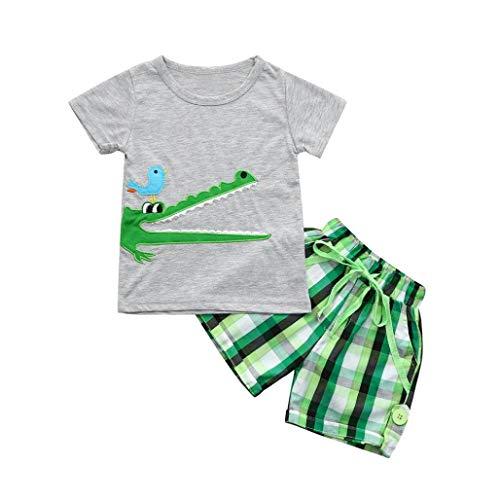 Ropa Niño Bebe 1-6 años Verano Conjuntos Dibujos Animados de cocodrilo Animal Camiseta Manga Corta y Pantalones Cortos de Cuadros