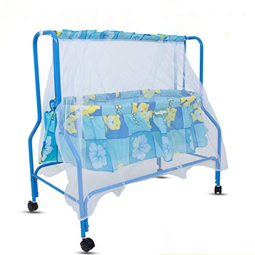BAYBEE Enchant Cotton Swing Cradle Bedding Set with Net and Spring for Baby (White, 0-8 Months)