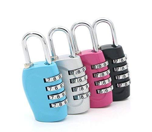 Bagage sloten, Combinatie hangslot, Fietssloten, (4 Pack) 3 cijferige combinatie hangslot Codes met Legering Lichaam voor Reistas, Pak Case, Lockers, Gym - Zwart, Blauw, Roze, en Zilver