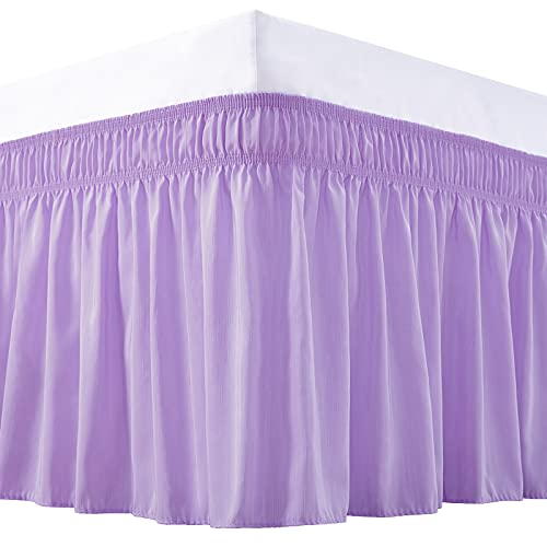 Vocander Bed Skirt Lavender Purple Queen Size, Elastic Dust Ruffle 15 inch Drop, Wrap-Around Bedskirt, Easy-Install Wrinkle/Fade Resistance
