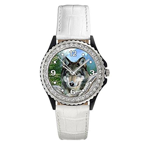 Timest - Lobo Indio - Reloj del Cuero Blanco para Mujer con piedrecillas Analógico Cuarzo CSG0024w