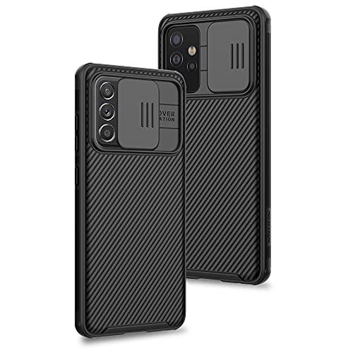 XTCASE Cover per Samsung Galaxy A72 5G/4G, Custodia con Scorrevole Protezione Fotocamera Ultra Sottile Leggero Hard PC Back Cover e TPU Bumper Protettiva Case [Antiurto Antiscivolo AntiGraffio], Nero