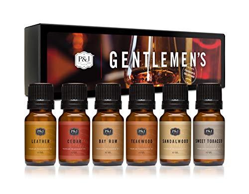 Gentlemens Set of 6 Premium Grade Fragrance Oils - Leather, Sweet Tobacco, Teakwood, Bay Rum, Cedar, Sandalwood