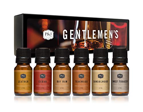 Gentlemen's Set of 6 Premium Grade Fragrance Oils - Leather, Sweet Tobacco, Teakwood, Bay Rum, Cedar, Sandalwood