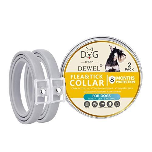 DEWEL 2pcs Hund Zecken Halsband, Zeckenband für Katzen, Natürliches Zeckenhalsband für Hunde und Katzen, Reflektierendes Halsband gegen Zecken & Flöhe, Flohhalsband gegen Zecken, Milben