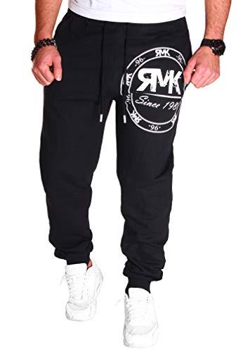 RMK Herren Hose Jogginghose Trainingshose Sporthose Fitnesshose Sweatpants Uni Einfarbig H.08 (L, Schwarz-Weiß)