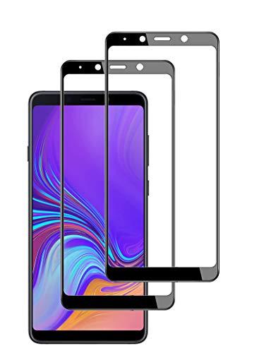 TECHKUN [2 unidades] Protector de pantalla de vidrio templado para Samsung Galaxy A9 2018(SM-A920) [Dureza 9H + Protector de pantalla ultrafino HD + Protector de pantalla completo] (negro)