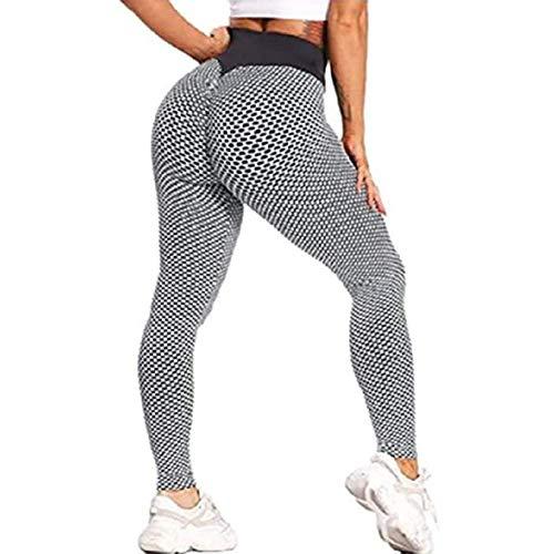 Broccoli Famosos Pantalones de Yoga TIK Tok Leggings para Mujer, Leggings de gofres de Panal de Gimnasio para Mujer,Gris,L