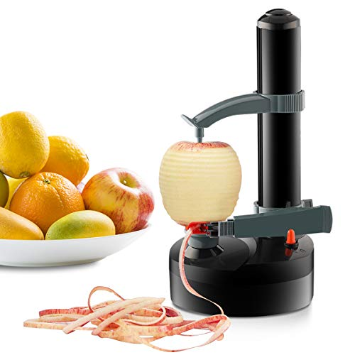 Jianyana JIAN YA NA Elektrischer Kartoffelschäler Apfelschäler Gemüseschäler Obstschäler Elektro Schäler für Obst & Gemüse Edelstahl-Klinge (Schwarz)