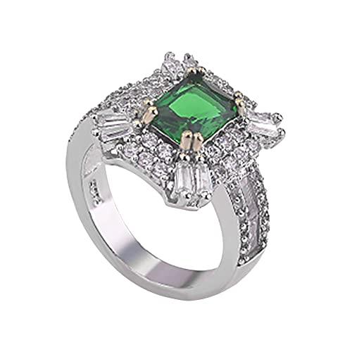 minjiSF Anillo cuadrado de piedras preciosas de diamante para mujeres pulidas, bonitos anillos, temperamento, retro, anillo de compromiso, joya única, anillo de compromiso (plata E, 10)