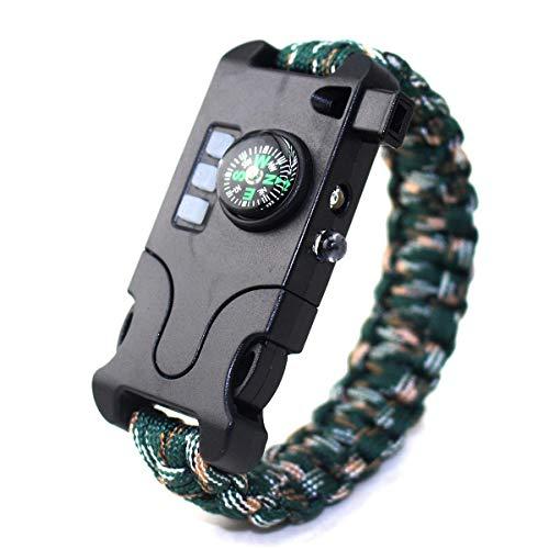 Select Zone Pulsera de supervivencia 7 en 1 para exteriores, EDC con linterna LED infrarroja, brújula, silbato, reflector, kit de herramientas de emergencia (color: camuflaje de montaña)