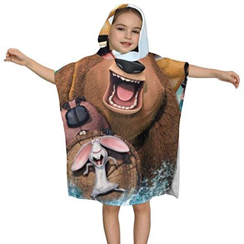 IUBBKI Animal World Kinder Kapuzen Badetuch Premium Qualität Soft Ultra Beach Wrap Poncho Cape Badeanzug Cover Up für Beach Pool