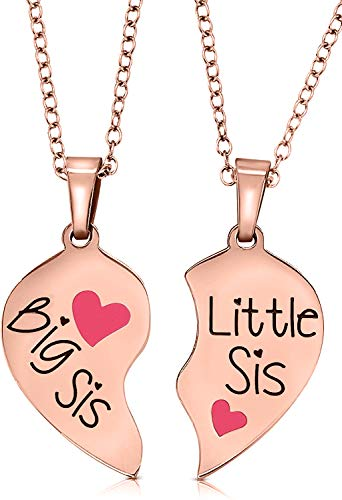 Big Sister & Little Sister Christmas, Stocking Stuffer Gift Ideas for Girls, Teens, Tweens, Women, Teenagers, Sister Necklace Jewelry Gift Set for 2, Birthday Present for Granddaughters, Daughters, Nieces (Rose Gold/Pink Hearts)