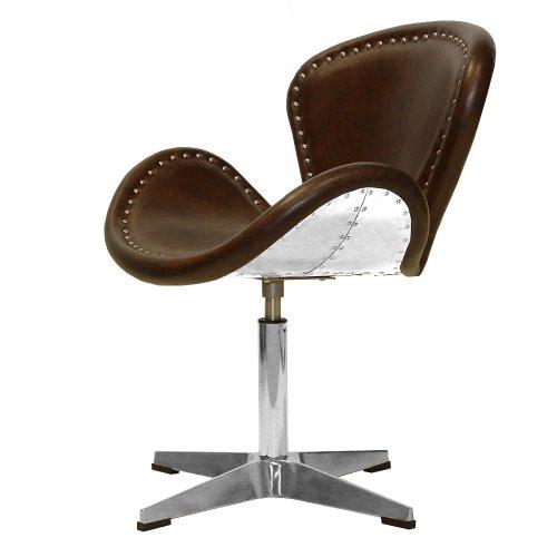 Phoenixarts Vintage Echtleder Sessel Retro Ledersessel Braun Design Drehsessel Lounge Clubsessel Möbel NEU 437