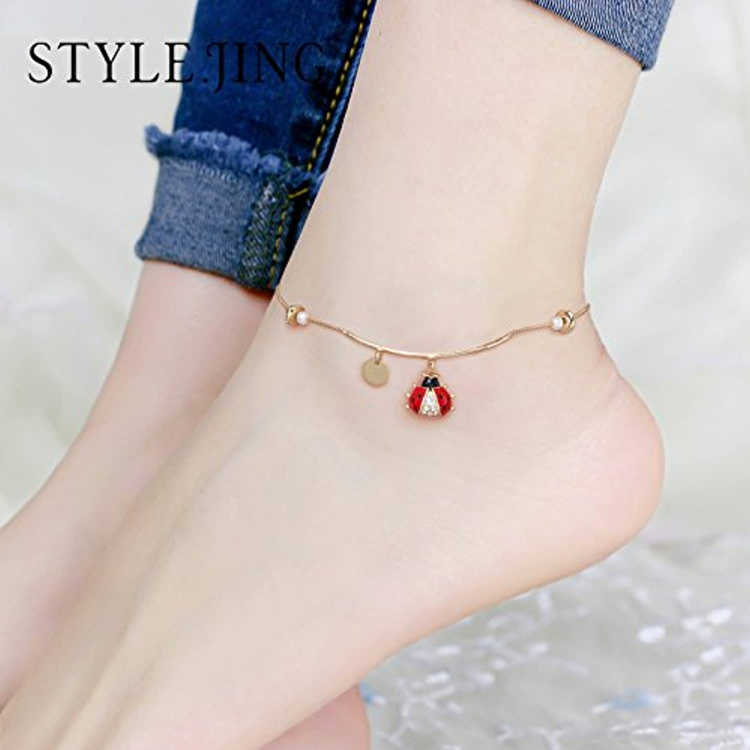 Static Style Foot Chain Anklet Women Girls Models Simple Personality Ladybug Crossing Student Wild Foot Ring Jewelry Gift
