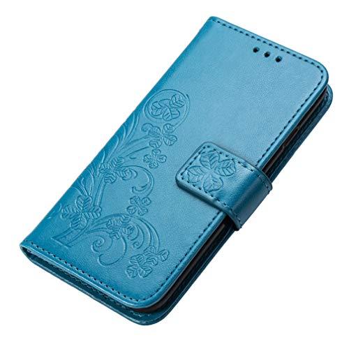 KERUN Hülle für Xiaomi Mi 10T 5G, Kleemuster Geprägtem PU Leder Handyhülle, Magnetische Filp Schutzhülle mit Kartensteckplätzen/Standfunktion.Blau