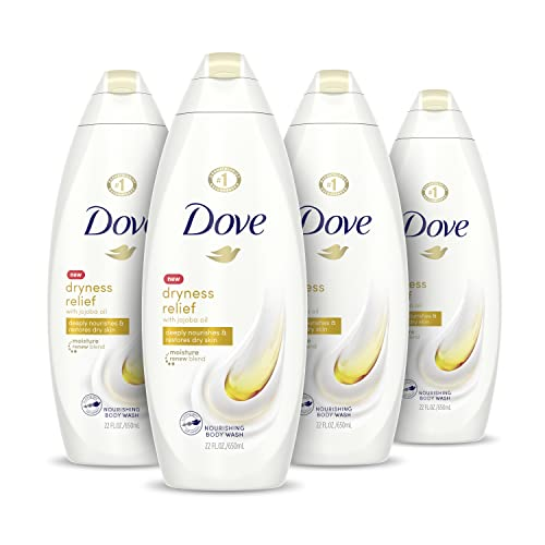 Dove Body Wash for Dry Skin Dryness Relief Effectively Washes Away Bacteria While Nourishing Your Skin 22 oz 4 Count