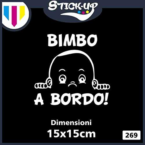 Sticker Baby in Car - Bébé à Bord ! - Baby on Board - Dimensions 15 x 15 cm - Autocollant Tuning Lunette Voiture Moto Custom Decal Enfant Fille à Bord (Blanc)