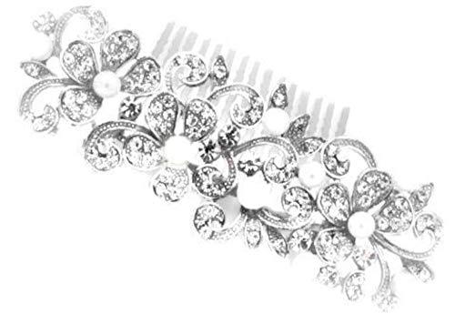NA2 Rare GEMS - Peine de pelo para novia, accesorios de boda para mujer con diamantes de imitación de plata con perlas de diamantes de imitación para el pelo de novia y dama de honor HC32