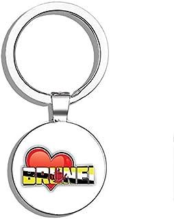 PRS Vinyl Brunei Art Heart Flag Travel Slogan Double Sided Stainless Steel Keychain Key..