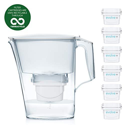 Aqua Optima Caraffa Liscia + 6 cartucce Filtro per Acqua Evolve-6 Confezioni mensili, Bianche, 2,5 Litri, 2.8Litres, with 6, up to 30 Day Filters (6 Month Pack)