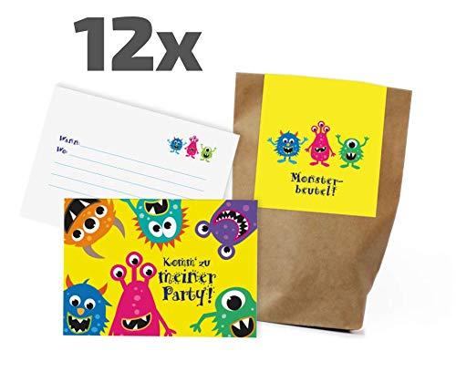 12x Monster Einladungskarten + Partytüten - Set zum Kindergeburtstag / Mitgebseltüten / Geschenktüten / Give-aways / Ungeheuer / Geburtstagseinladungen / Einladungen / Kinder / Jungen / Mädchen / Set